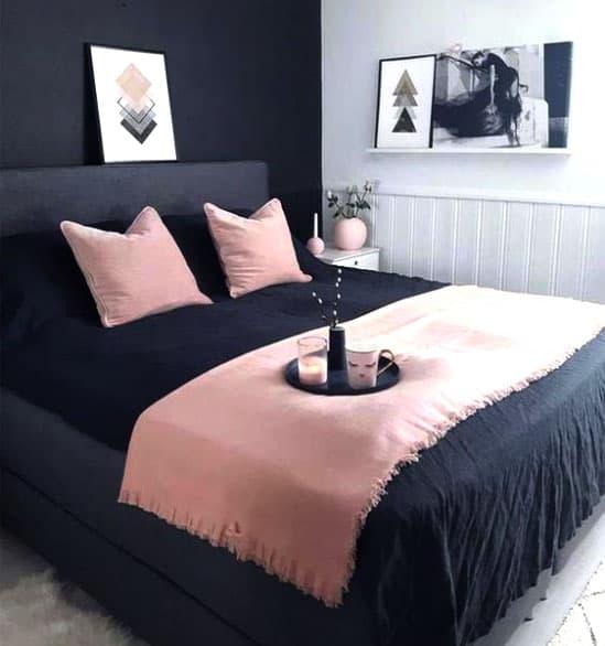 Schlafzimmer schwarz und rosa kombinieren