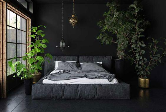 Schlafzimmer Schwarz Grün