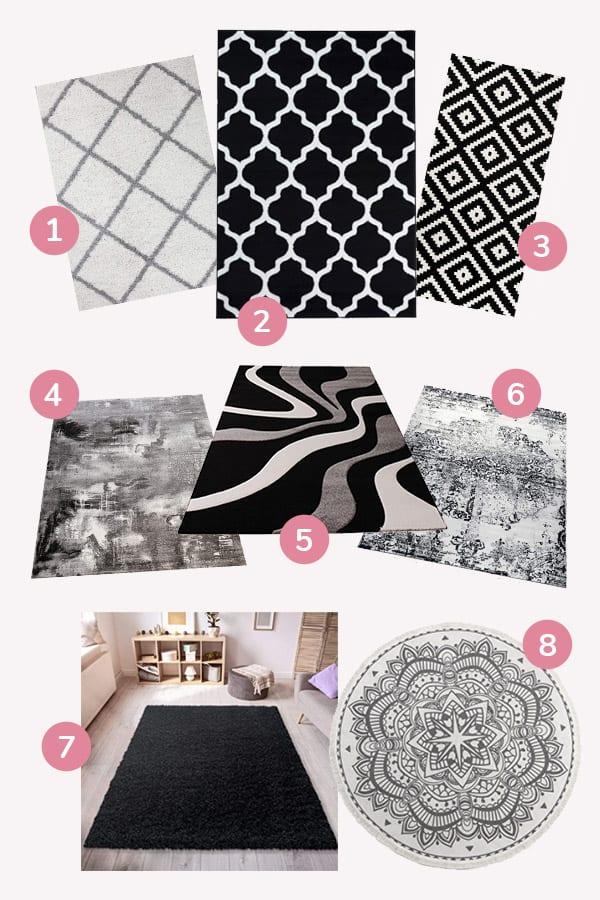 Schwarz Weiße Teppiche